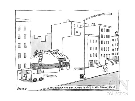 jack-ziegler-the-burger-hut-franchise-decides-to-add-sesame-seeds-men-hammer-seeds-o-new-yorker-cartoon