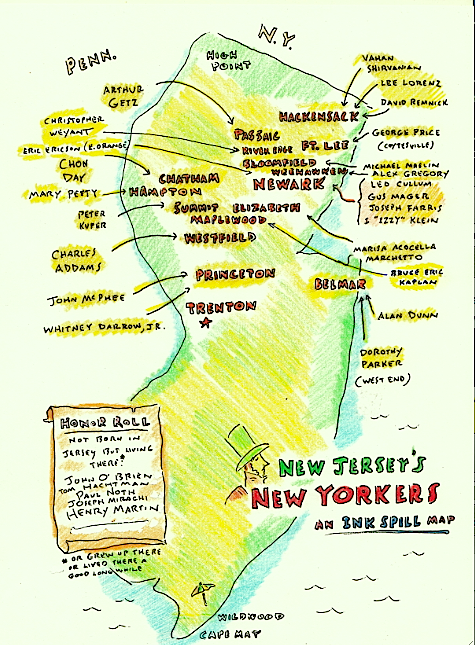 New Yorkers Map Of The World.New Jersey S New Yorkers An Ink Spill Map Inkspill